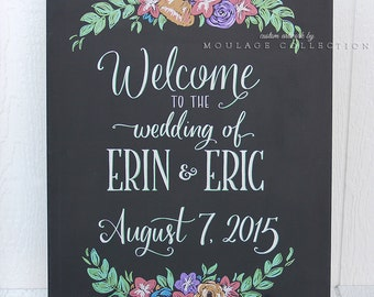 """Welcome sign drawing by hand, 18"""" x 24"""" canvas, custom ink drawing, hand lettering, chalkboard style"""