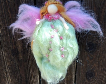 Spring Green Garden Fairy-  Needle felted wool fairy angel Waldorf inspired creation by Rebecca Varon aka Nushkie