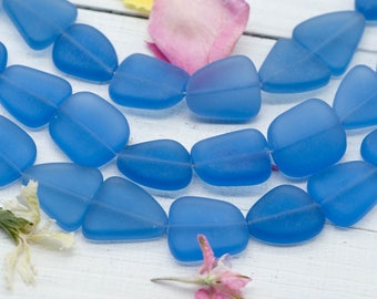 Recycled Glass Beads, 9pc Strand, Blue Beads,  20x23mm, Jewelry Beads -B113