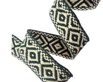 Tribal Aztec Ribbon Trim, Knitted Rhombus Boho Trim for Fashion Crafts