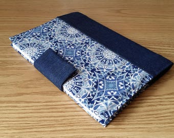 Reusable Notebook Cover - Denim with Blue Calico