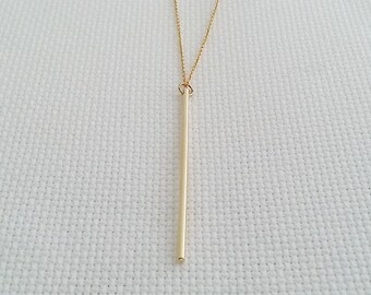 Gold Stick Necklace, Long Stick Pendant, Delicate Dainty, Minimalist Necklace, Layering Necklace, Celebrity Style Jewelry