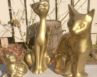 FREE BEAR! Solid brass cat figurine set/paperweight/cat lovers/figurines/french country/stocking stuffers/collectible decor/happy family