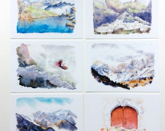 Postcards watercolor paintings of mountain series 1
