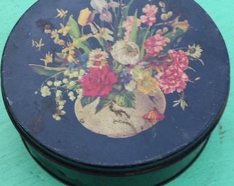 Vintage Black Floral Tin, Mid Century Primitive Rustic Farmhouse Country 1950s Shabby Chic Decorative Tin Container, Storage Tin, Canister