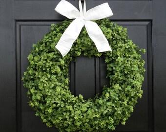 Artificial Boxwood Wreath, Year Round Wreath, Front Door Wreath, All Season  Wreath,