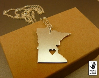 Minnesota State Map Handmade Personalized Sterling Silver .925 Necklace in a gift box