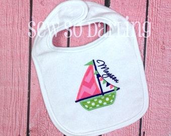 Pesonalized Nautical Bib - Baby Girl Bib - Sailboat Bib - Nautical Baby Girl Bib - Baby girl Gift - Personalize baby bib - Sail boat bib