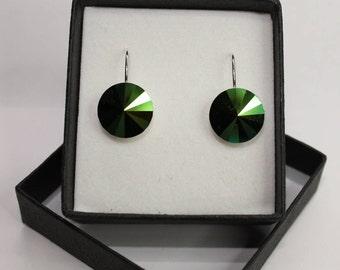 Sterling Silver Rivoli style drop earrings made with Swarovski® Crystal- Sarabaeus Green