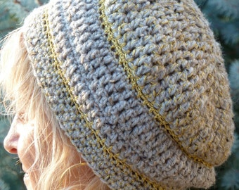 Gold and gray crochet hat with style and class, slouchy winter hat, Bohemian accessories, slouchy winter hat for women, unique winter hat