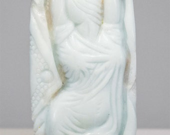 Finest Hand Carved Amazonite Gowned Beauty Pendant