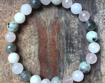 Moon Magic   Moonstone, Sesame Jasper, Labradorite + Rose Quartz   Spiritual Junkies   Yoga + Meditation   Mala Bracelet