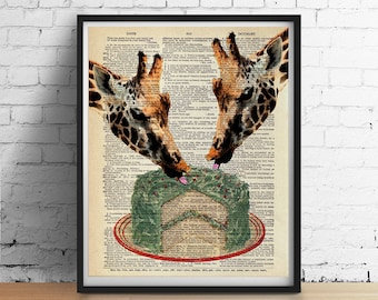 GIRAFFES Eating Cake Print, Vintage Cake Recipe or Dictionary Page, Wedding Wall Art Poster, Animal Illustration Bakery Kitchen Print GICLEE