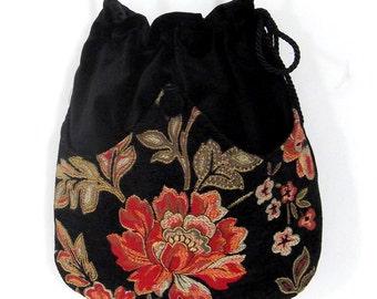 Tangerine Chenille Flower Bag  Black Velvet Bag With  Renaissance Bag Pocket Bag Crossbody Purse