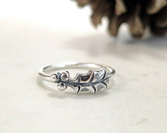 Holly ring, Sterling Silver, leaf and berry, stacking, Winter jewelry