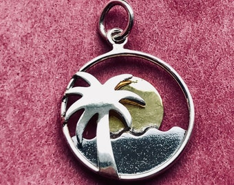 Sterling Silver Palm Tree and Ocean Charm with Bronze Sun-Beach