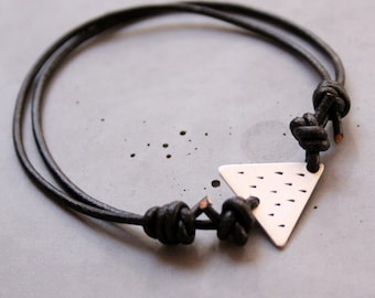 Silver Bracelet for Men, Sterling Silver Adjustable Triangle Bracelet, Black Rain, Accessories for Men, Geometric Bracelet