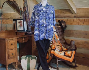 Vintage shirt - blue Hawaiian shirt