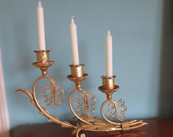 Vintage Hollywood Regency Gold Gilt Tole Candelabra 3 Candle Holder