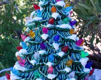 "12 1/2"" Ceramic Christmas Tree Lighted, Just Like Grandma/Mom's Green Glaze with Snow"