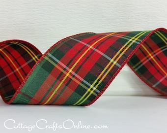 "Christmas Wired Ribbon,  2 1/2"" Red, Dark Green, Yellow Tartan Plaid  - TEN YARD ROLL - ""Royal Plaid"" Slubbed Taffeta Wire Edged Ribbon"