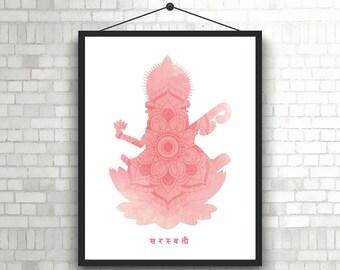 Goddess Saraswati on Pink Mandala Background // Saraswati Printable Art // Saraswati and Mandala Digital Art // Saraswati Wall Art