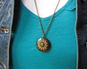 Sunflower Locket, Woodland Locket, Bohemian Necklace, Botanical, Brass Locket, Long Necklace, Floral, Flower Necklace, Photo Locket, For Her