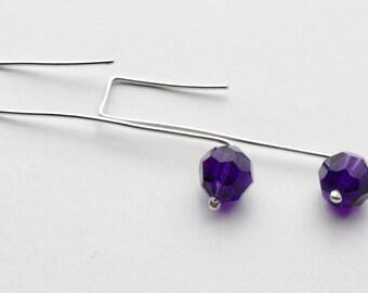 Sterling Silver and Purple Swarovski Crystal Earrings