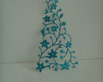 Cutout tree snow blue glitter for scrapbooking or card