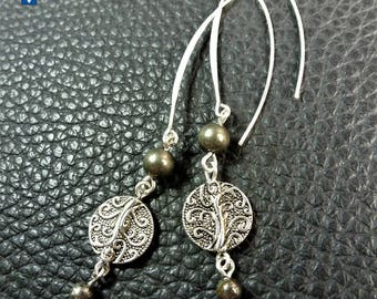 Elegant Pyrite & Plated Silver Ornated Pendant Earrings - LONG HOOKS