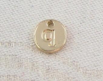 1 or 5, Initial Charm, Charm Bracelet, Lower Case Letter, Gold Letter, Initial Pendant, Alphabet Charm, Lower Case Charm, ALF021q-GL