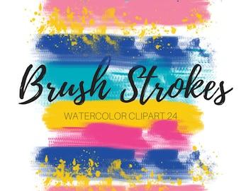 Ink Splat Clip Art - Paint splatter clip art -  Brush Stroke Clip Art - Digital brush strokes - Paint clip art - Commercial use