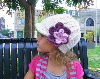 Toddler Girl Hat Baby Girl Hat Toddler Hat Baby Hat Womens Hat Crochet Flower Hat Flower Beanie Cream Pink Blossom Purple Plum Winter