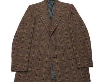 Vintage Union Made Brown Windowpane Wool Sports Coat Menswear Jacket Mens Size 40L