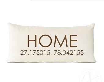 personalized latitude longitude HOME pillow, custom address coordinates pillow, personalized home decorative throw pillow