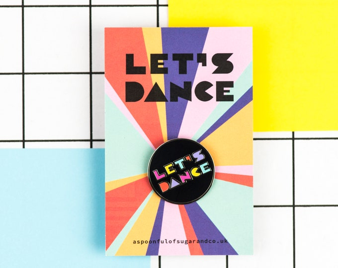 LET'S DANCE typographic hard enamel pin in silver
