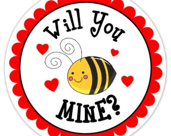 Custom Bee Mine Valentine's Day Labels, Cute Bee Mine Stickers