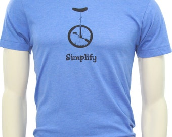 Unicycle Bike | Soft Lightweight T Shirt | Crew and V neck | Simplify