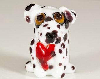 Dalmatiner mit Herz Lampwork Hund Perle