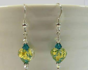 Mini Heart Earrings, Aqua Green Gold Venetian Murano Glass Mini Heart Earrings w Swarovski and 925 Silver, Blue Green Gold Hearts w Goldfoil