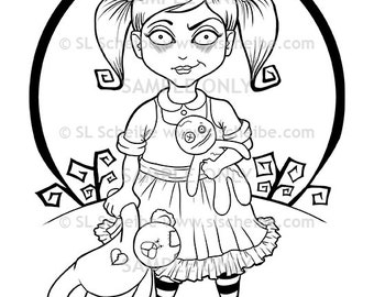 Digital stamp, Cute Goth Girl, girl with teddy, instant download