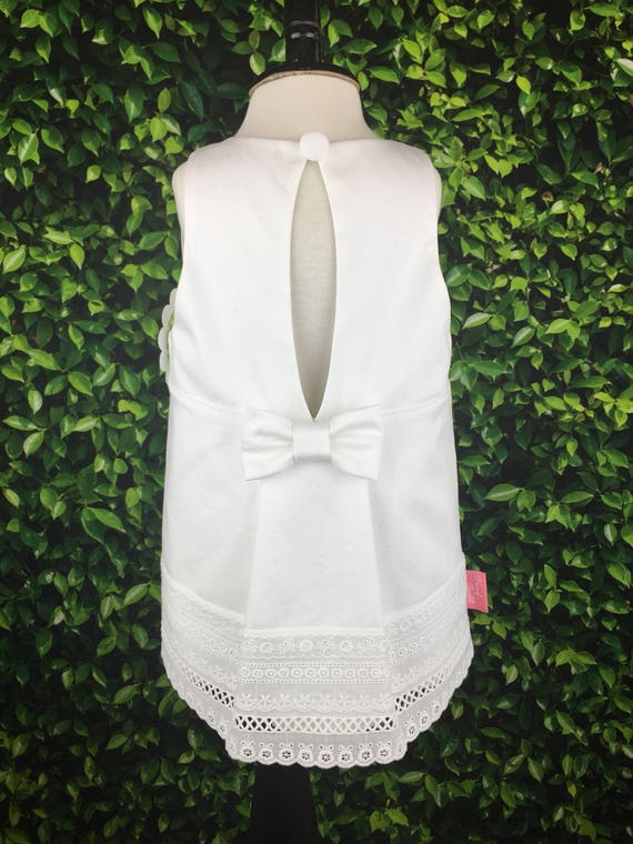 "The ""Key Hole Tunic"" in White Sateen with White Eyelet Trim"