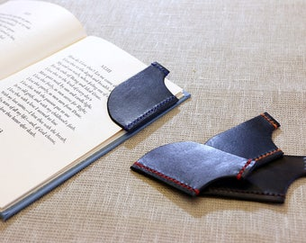Natural leather handmade bookmark for book lovers dyed in blue