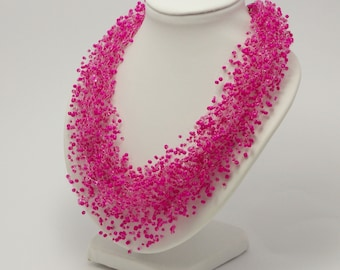 Gift for women beaded necklace bff necklace Magenta necklace fuchsia necklace hot pink necklace pink jewelry fuchsia jewelry bib necklace