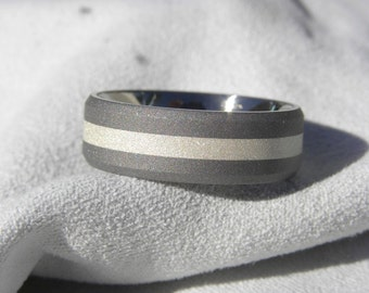 Wedding Band, Titanium Ring with Silver Stripe, Beveled Edge Band, Made to Order, Sandblasted