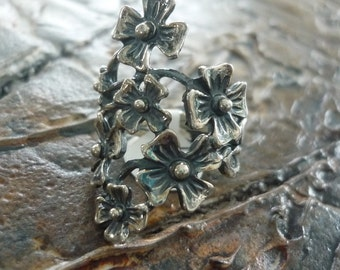 Sterling Silver Ring, Floral Ring, Wide Ring, Chunky Ring, Organic Ring, Woodland Ring, Botanical Ring, Silver Flowers, Long Ring #199