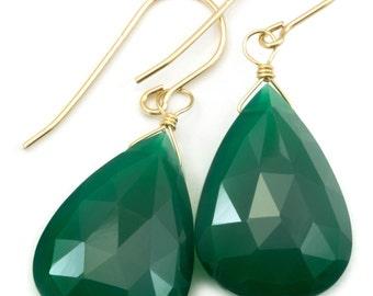 Green Onyx Earrings Faceted Long AAA Drop Dangle Large Briolette Teardrop Sterling Silver or 14k Gold Filled Rich Emerald Green Color Drops
