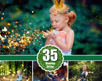 35 Blowing glitter photoshop overlays, confetti photo overlays, bokeh blow magic pixie dust effect, photoshop layer, jpg file