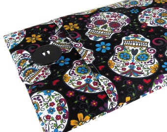 """Chromebook Cover Sugar Skull - Cute Accessory For Chromebook Laptop - Sleeve Can Be Made To Fit Any Make/Model 11 Inch 12"""" 13"""" 14"""" to 15.6"""""""