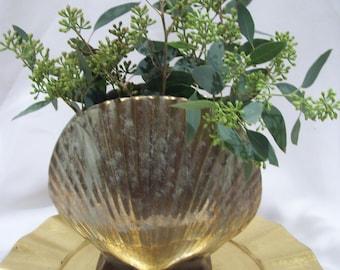 Gold Pottery Seashell Vase Beach Decor Ocean Shell Vase